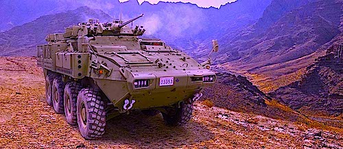 "Pictured here the LAV (Light Armored Vehicle) at the center of the massive Saudi arms deal recently brokered by the Harper government. Touted as a vehicle that ""combines versatility, survivability, lethality,"" it's manufactured by General Dynamics Land Systems Canada, a subsidiary of the American-owned Combat Systems business group of General Dynamics Corporation. While Canada is required to screen requests to export military goods to countries like Saudi Arabia that ""have a persistent record of serious violations of the human rights of their citizens,"" we don't know if this sale was screened because Harper has kept those details secret."