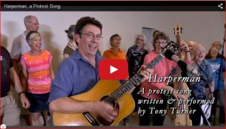 Image from HvH song post: Harperman - A protest Song by Tony Turner & Friends