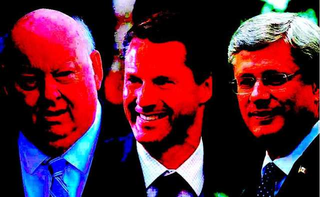 L-R Mike Duffy, Nigel Wright and Stephen Harper
